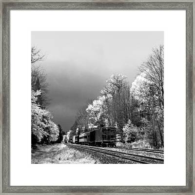 Foggy Day On The Rails Framed Print by David Patterson
