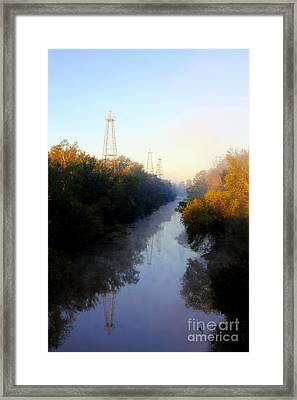 Foggy Fall Morning On The Sabine River Framed Print by Kathy  White