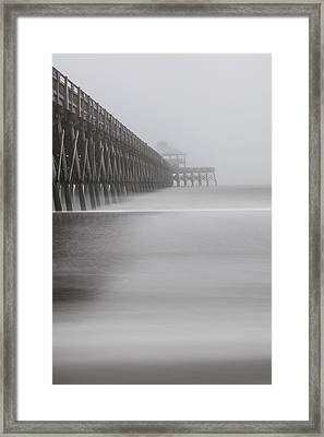 Foggy Folly Beach Pier Framed Print by John McGraw