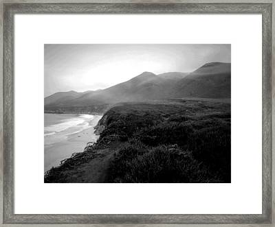 Foggy Hills Of Garapata B And W Framed Print by Joyce Dickens