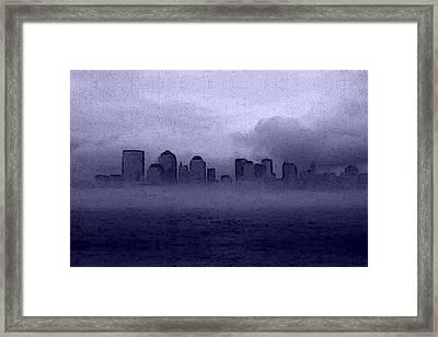Foggy Manhatten Blue Framed Print by Keshava Shukla