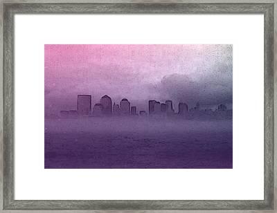 Foggy Manhatten Framed Print by Keshava Shukla