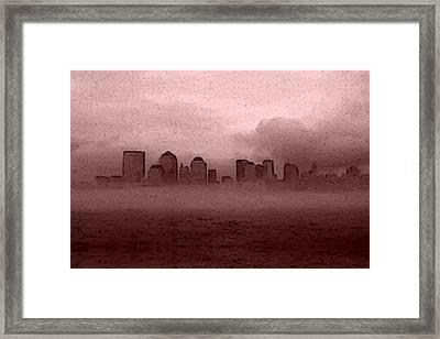 Foggy Manhatten Warm Framed Print by Keshava Shukla