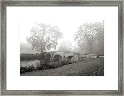 Foggy Morning At Burnside Bridge Framed Print by Judi Quelland