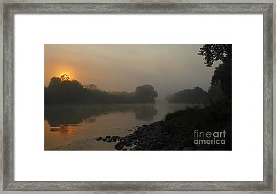 Foggy Morning Red River Of The North Framed Print by Steve Augustin