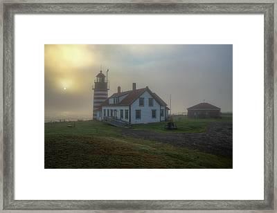 Foggy Sunrise At Quoddy Head Framed Print by Tom Weisbrook