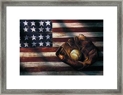 Folk Art American Flag And Baseball Mitt Framed Print by Garry Gay