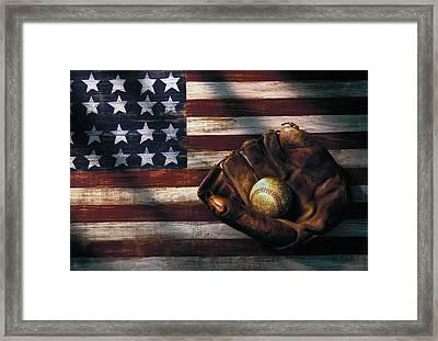 Folk Art American Flag And Baseball Mitt Framed Print by Garry Gay