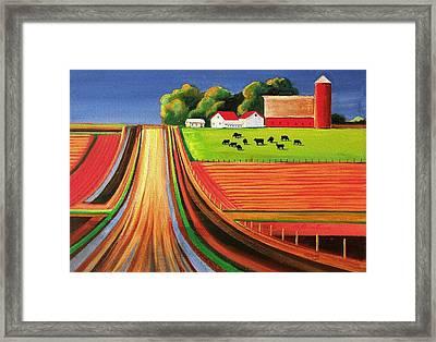 Folk Art Farm Framed Print by Toni Grote