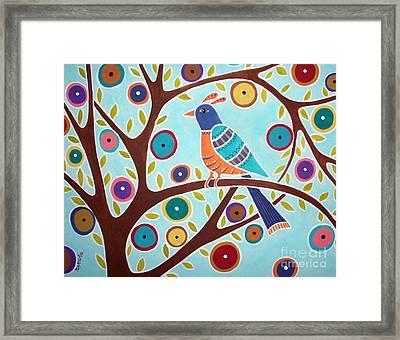 Folk Bird In Tree Framed Print by Karla Gerard