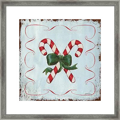 Folk Candy Cane Framed Print by Debbie DeWitt