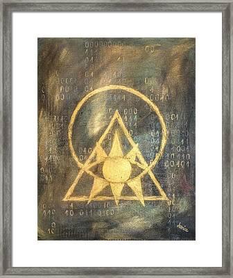 Follow The Light - Illuminati And Binary Framed Print by Marianna Mills