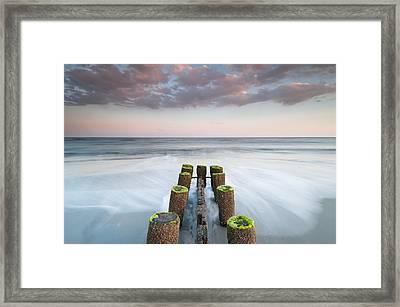 Folly Beach Charleston South Carolina Erosion Control Timber Groin Framed Print by Mark VanDyke