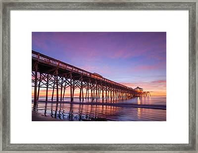 Folly Beach Fishing Pier Framed Print by Steve DuPree