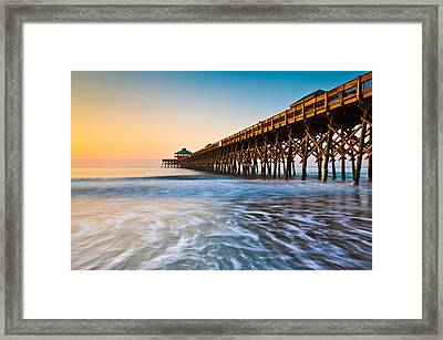 Folly Beach Pier Charleston Sc Coast Atlantic Ocean Pastel Sunrise Framed Print by Dave Allen