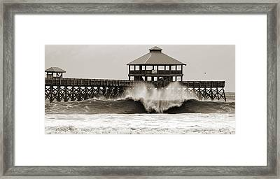 Folly Beach Pier Hurricane Irene 2011 Framed Print by Dustin K Ryan