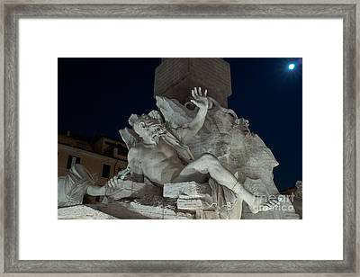 Fontana Dei Quattro Fiumi Iv Framed Print by Fabrizio Ruggeri