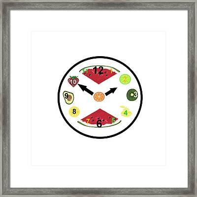 Food Clock Framed Print by Kathleen Sartoris