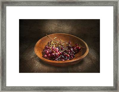 Food - Grapes - A Bowl Of Grapes  Framed Print by Mike Savad