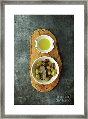 Food Still Life With Olives Framed Print by Edward Fielding