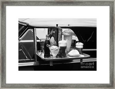Food Tray At A Retro Drive In, C.1990s Framed Print by Hub Willson/ClassicStock