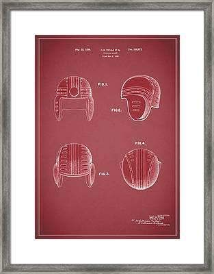 Football Helmet 1935 - Red Framed Print by Mark Rogan
