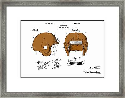 Football Helmet 1954 - White Framed Print by Mark Rogan
