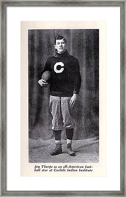 Football, Jim Thorpe In Carlisle Indian Framed Print by Everett