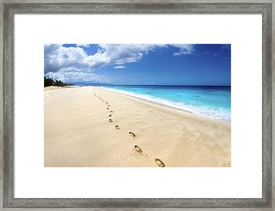Footsteps Of Tranquility Framed Print by Sean Davey