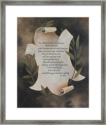 For I Know The Plans I Have For You Framed Print by Becky West