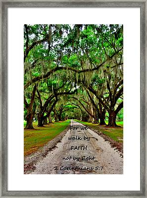 For We Walk By Faith Not By Sight 2 Corinthians 5 7 Majestic Oaks Pathway Framed Print by Lisa Wooten