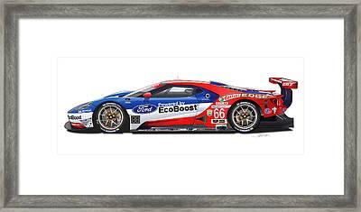 Ford Gt Le Mans Illustration Framed Print by Alain Jamar