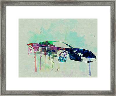 Ford Gt Watercolor 2 Framed Print by Naxart Studio