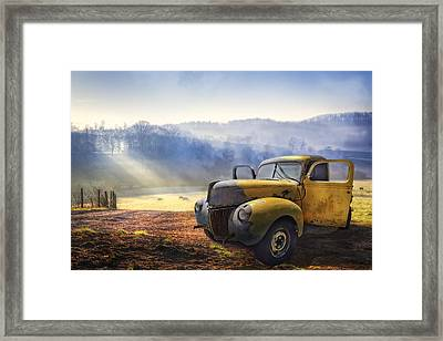 Ford In The Fog Framed Print by Debra and Dave Vanderlaan