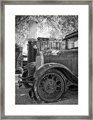 Ford Model A At The Gas Pump Framed Print by Troy Montemayor