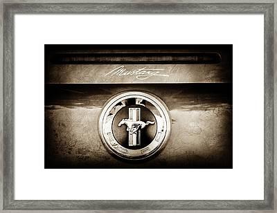 Ford Mustang Gas Cap Emblem -0002s Framed Print by Jill Reger