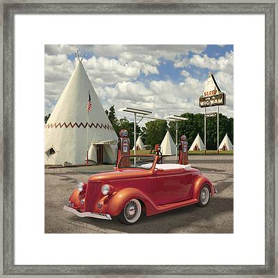 Ford Roadster At An Indian Gas Station 2 Framed Print by Mike McGlothlen