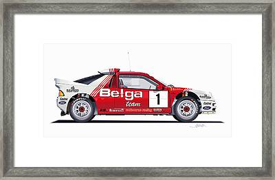 Ford Rs 200 Belga Team Illustration Framed Print by Alain Jamar