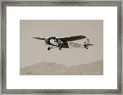 Ford Tri-motor Taking Off - Sepia Tone Framed Print by Allen Sheffield