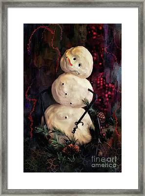 Forest Snowman Framed Print by Lois Bryan