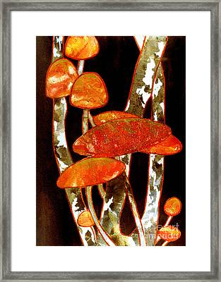 Forest Treasures A Collage Depicting Woodland Mushrooms Framed Print by Phil Albone