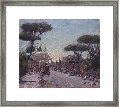 Fori Romani - Street To Colosseo Framed Print by Ylli Haruni