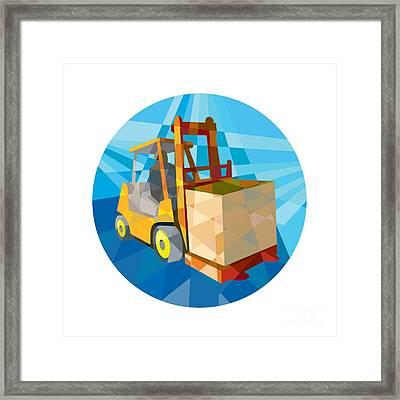Forklift Truck Materials Box Circle Low Polygon Framed Print by Aloysius Patrimonio