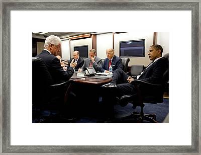 Former President Clinton Briefs Framed Print by Everett
