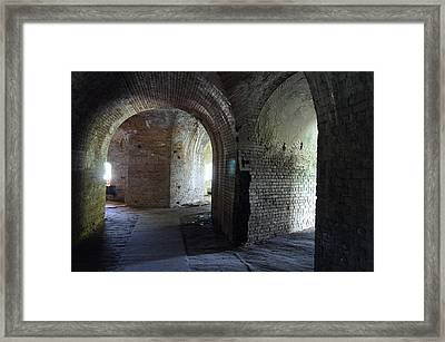 Fort Pickens Corridors Framed Print by Laurie Perry