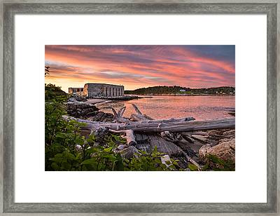 Fort Popham Sunset Framed Print by Benjamin Williamson