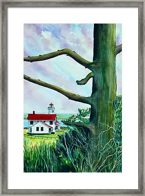 Fort Worden Lighthouse With Tree Framed Print by Stephen Abbott