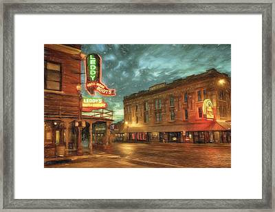 Fort Worth Impressions Main And Exchange Framed Print by Joan Carroll