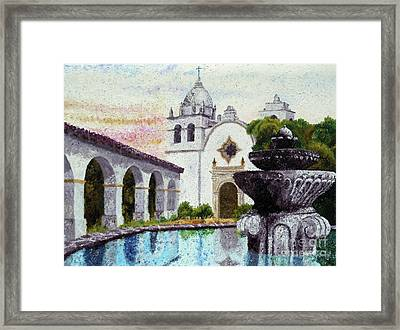 Fountain At Carmel Framed Print by Laura Iverson