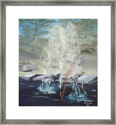 Fountain At Cataraqui Framed Print by Campbell Dickison